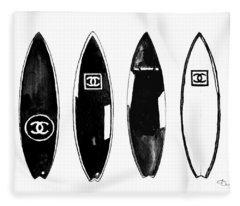 Chanel Surfboard  Black And White Fleece Blanket