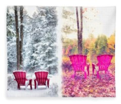 Changing Seasons Anderson Pond Eastman Grantham New Hampshire Fleece Blanket