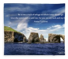 Channel Island National Park - Anacapa Island Arch With Bible Verse Fleece Blanket