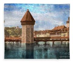 Chapel Bridge In Lucerne Fleece Blanket
