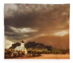 Fleece Blanket featuring the photograph Chapel In The Storm by Rick Furmanek