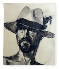 Charcoal Portrait Of A Man Wearing A Summer Hat Fleece Blanket