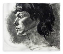 Charcoal Portrait Of A Pensive Young Woman In Profile Fleece Blanket