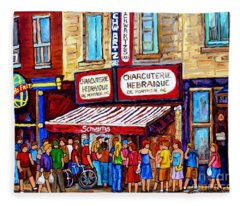 Charcuterie Hebraique Schwartz Line Up Waiting For Smoked Meat Montreal Paintings Carole Spandau     Fleece Blanket