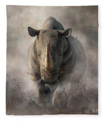 Charging Rhino Fleece Blanket