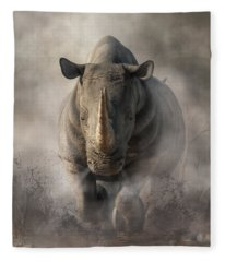 Charging Rhino Fleece Blanket