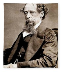 Charles Dickens 1 Circa 1867 Fleece Blanket