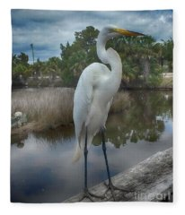 Charlie The Great Egret Fleece Blanket