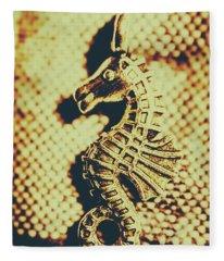 Charming Vintage Seahorse Fleece Blanket