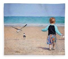 Chasing Birds On The Beach Fleece Blanket