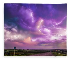 Chasing Nebraska Lightning 056 Fleece Blanket