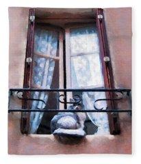 Chat Bleu Dans La Fenetre Rose Fleece Blanket