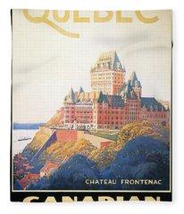 Chateau Frontenac Luxury Hotel In Quebec, Canada - Vintage Travel Advertising Poster Fleece Blanket