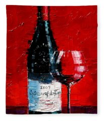 Still Life With Wine Bottle And Glass I Fleece Blanket