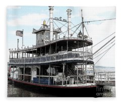 Chautauqua Belle Steamboat With Ink Sketch Effect Fleece Blanket