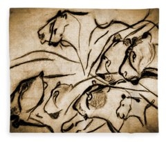 Chauvet Cave Lions Burned Leather Fleece Blanket