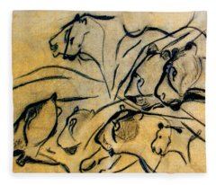 chauvet cave lions Clear Fleece Blanket