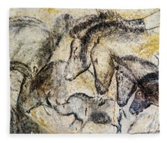 Chauvet Horses Aurochs And Rhinoceros Fleece Blanket