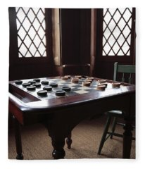 Checkers Table At The Lincoln Cottage In Washington Dc Fleece Blanket