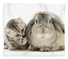 Checking For Grey Hares Fleece Blanket