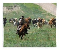 Checking The Cattle Fleece Blanket