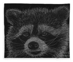 Cheeky Little Guy - Racoon Pastel Drawing Fleece Blanket
