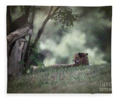 Cheetah On Watch Fleece Blanket