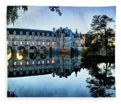 Chenonceau Twilight In Blue - Vintage Version Fleece Blanket