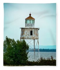 Chequamegon Point Light Tower Fleece Blanket