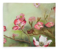 Cherokee Dogwood - Brave- Blushing Fleece Blanket