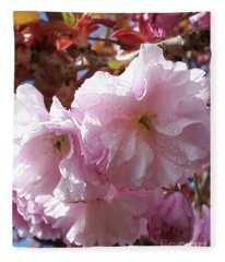 Cherry Blossom After Rain Fleece Blanket