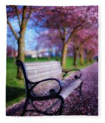 Cherry Blossom Bench Fleece Blanket