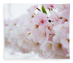 Cherry Blossom Focus Fleece Blanket
