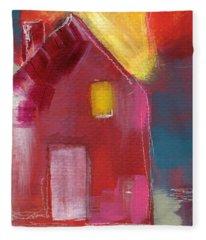 Cherry Blossom House- Art By Linda Woods Fleece Blanket