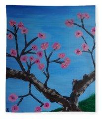 Cherry Blossoms II Fleece Blanket
