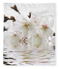 Cherry Blossom In Water Fleece Blanket
