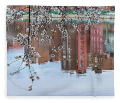 Cherry Blossom Reflections Fleece Blanket