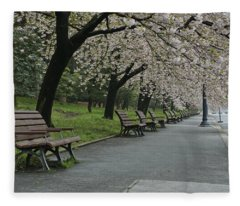 Cherry Blossoms And Benches Fleece Blanket