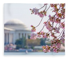 Cherry Blossoms And Jefferson Memorial Fleece Blanket