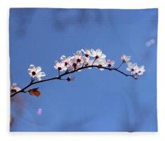 Cherry Flowers With Lens Flare Fleece Blanket