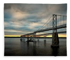 Chesapeake Bay Bridge At Twilight Fleece Blanket