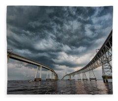 Chesapeake Bay Bridge Storm Fleece Blanket