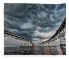Chesapeake Bay Bridge Storm Fleece Blanket