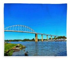 Chesapeake City Bridge  Fleece Blanket