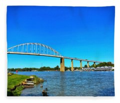 Chesapeake City Bridge  Fleece Blanket