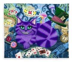 Cheshire Cat - Alice In Wonderland Fleece Blanket