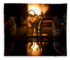 Chess Knights And Flame Fleece Blanket