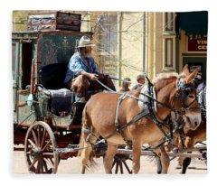 Chestnut Horses Pulling Carriage Fleece Blanket