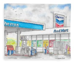 Chevron Food Mart In Ludlow, California Fleece Blanket