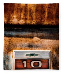 Chevy C10 Rusted Emblem Fleece Blanket